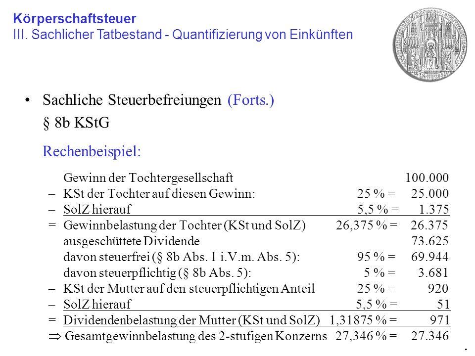 Sachliche Steuerbefreiungen (Forts.) § 8b KStG Rechenbeispiel: