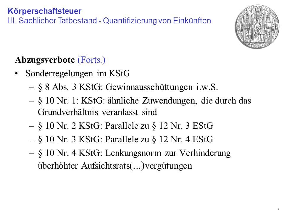Abzugsverbote (Forts.) Sonderregelungen im KStG