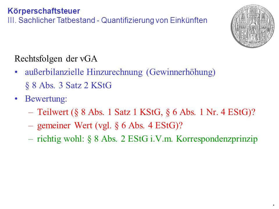 außerbilanzielle Hinzurechnung (Gewinnerhöhung) § 8 Abs. 3 Satz 2 KStG
