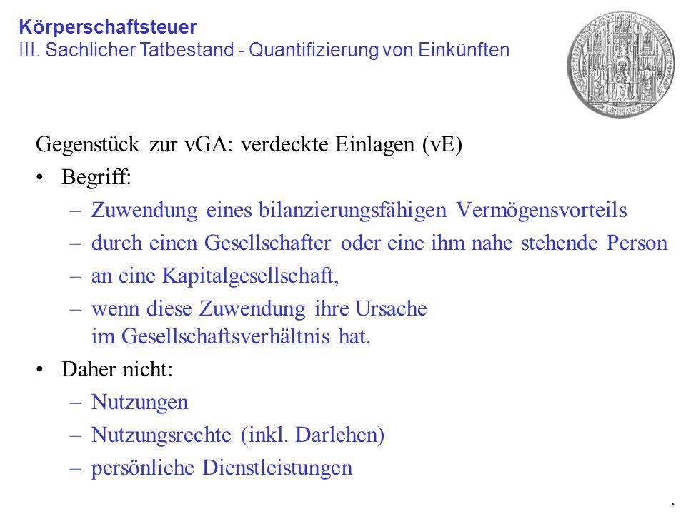 Gegenstück zur vGA: verdeckte Einlagen (vE) Begriff: