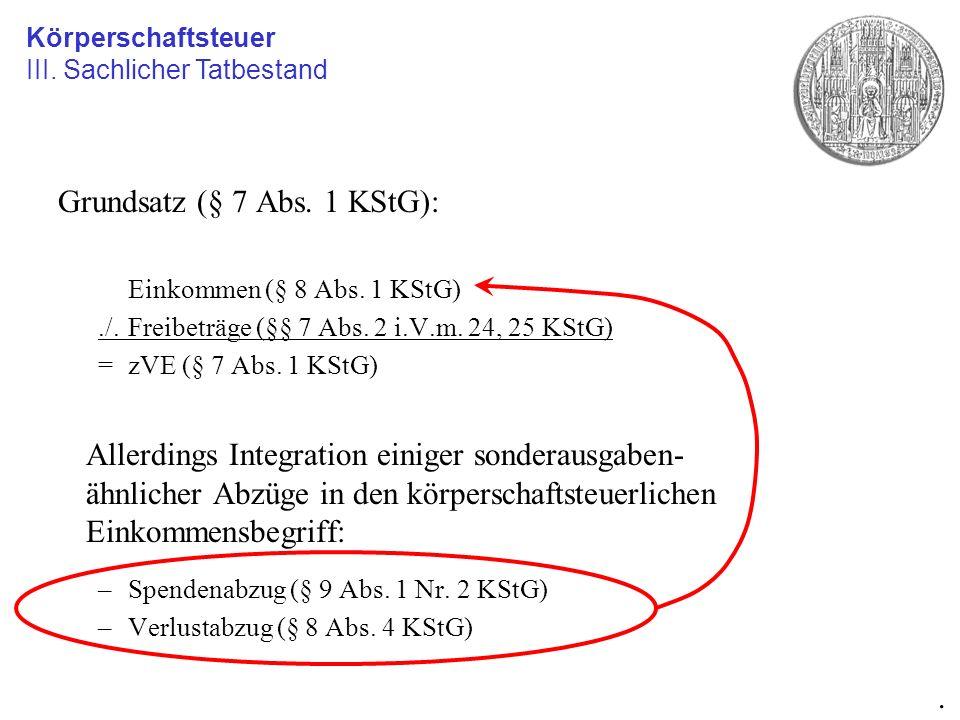Grundsatz (§ 7 Abs. 1 KStG):