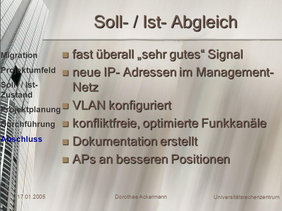 "Soll- / Ist- Abgleich fast überall ""sehr gutes Signal"