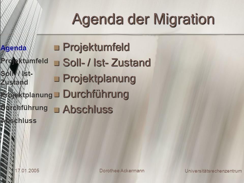 Agenda der Migration Projektumfeld Soll- / Ist- Zustand Projektplanung