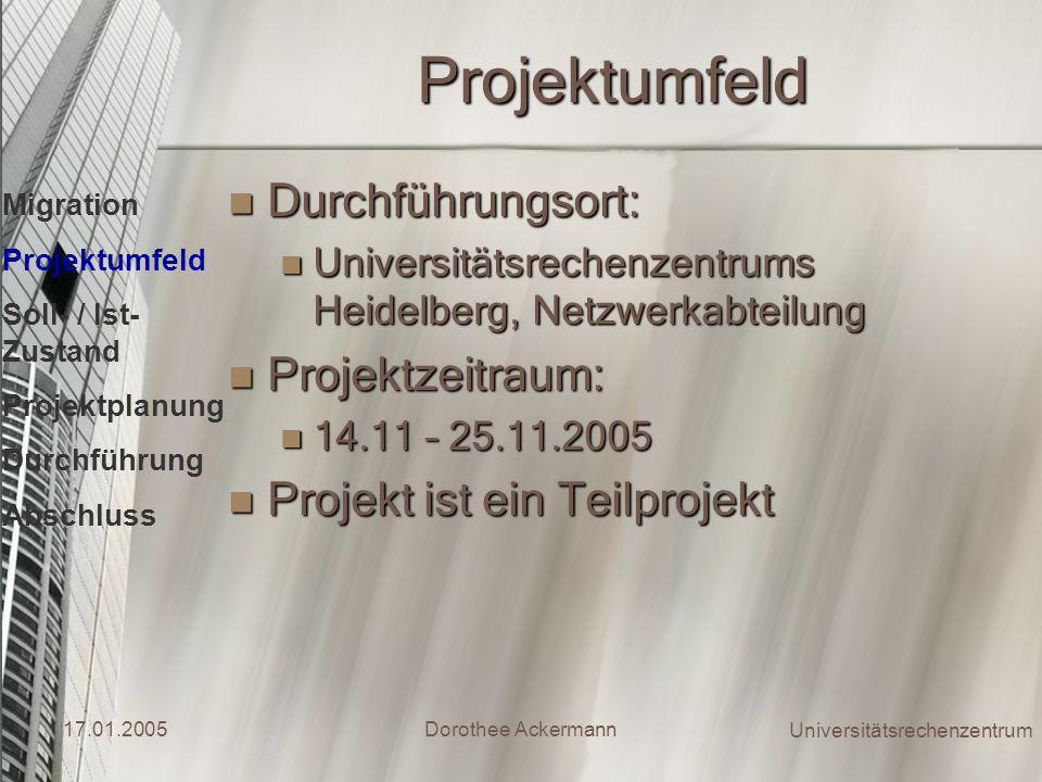 Projektumfeld Durchführungsort: Projektzeitraum: