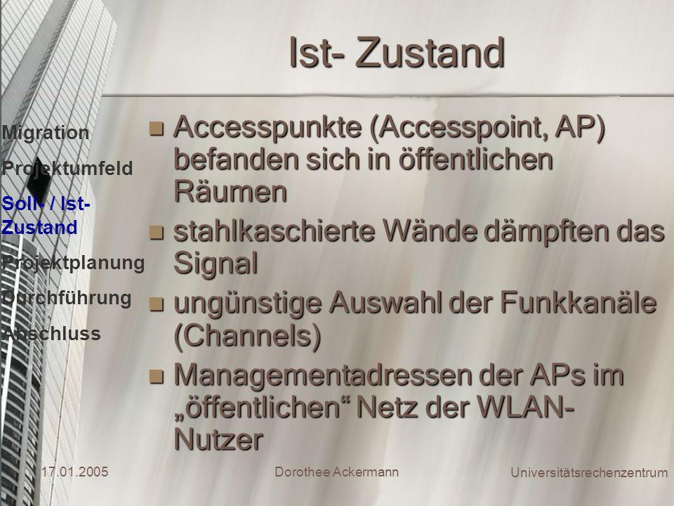 Ist- Zustand Accesspunkte (Accesspoint, AP) befanden sich in öffentlichen Räumen. stahlkaschierte Wände dämpften das Signal.