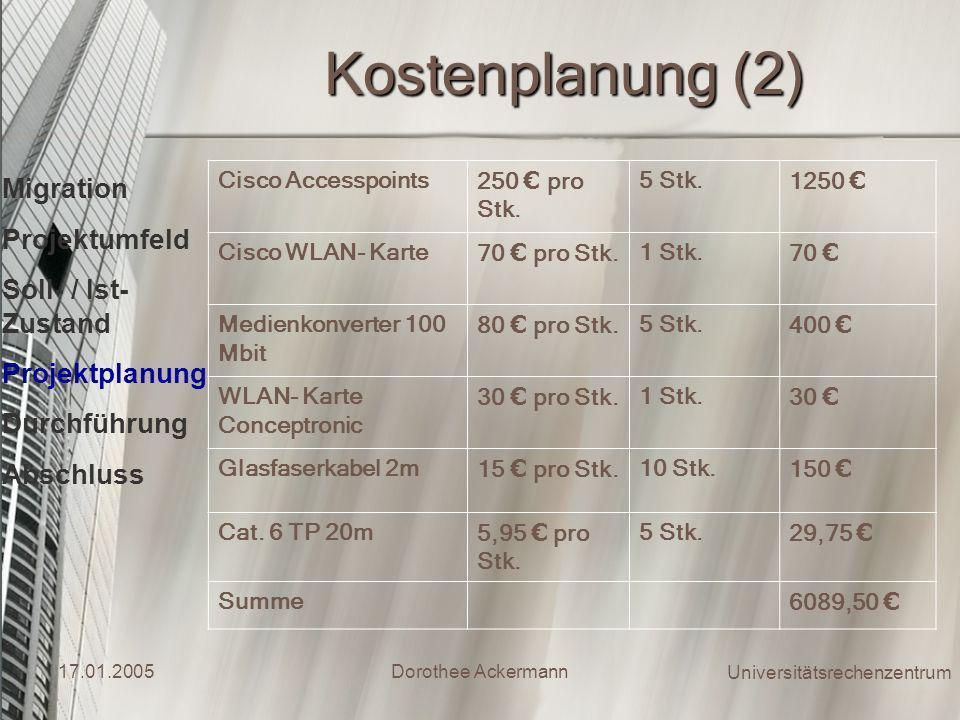 Kostenplanung (2) Migration Projektumfeld Soll- / Ist- Zustand