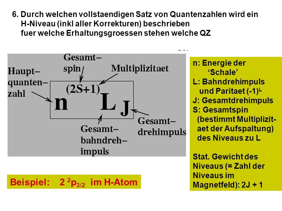 6. Durch welchen vollstaendigen Satz von Quantenzahlen wird ein