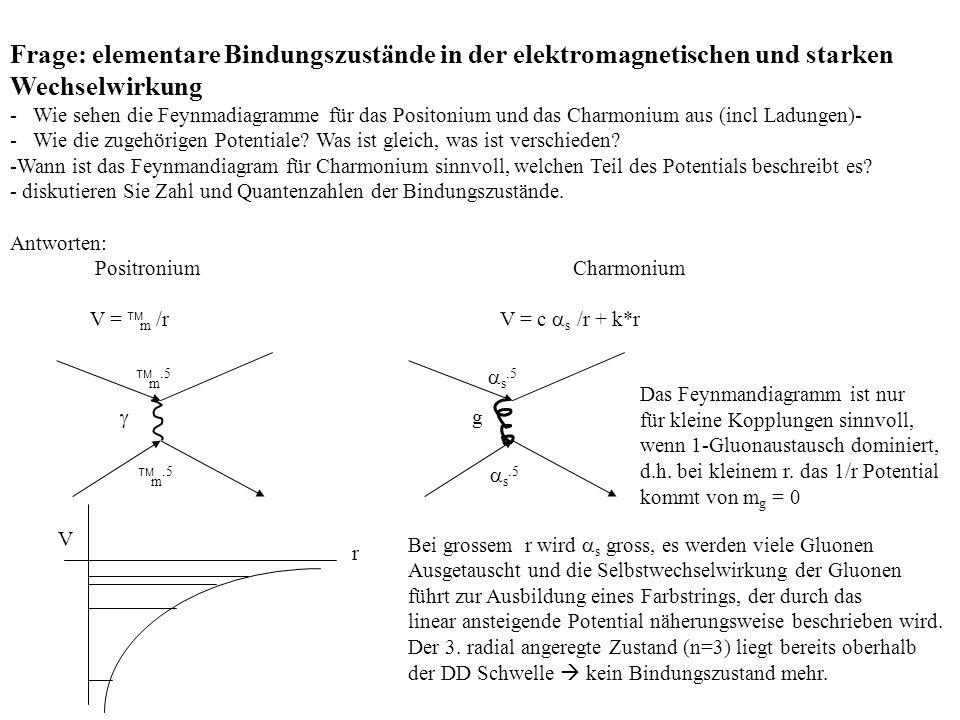 Frage: elementare Bindungszustände in der elektromagnetischen und starken