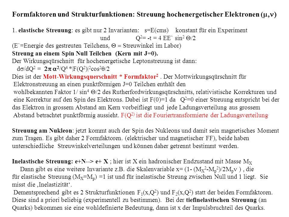 Formfaktoren und Strukturfunktionen: Streuung hochenergetischer Elektronen (m,n)