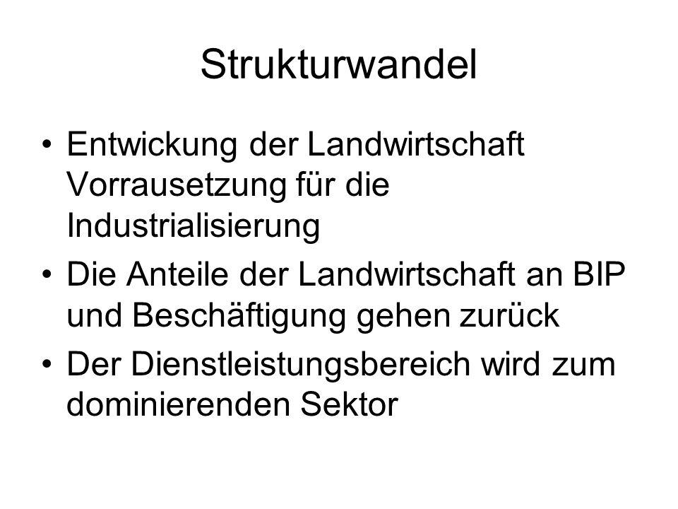 Strukturwandel Entwickung der Landwirtschaft Vorrausetzung für die Industrialisierung.