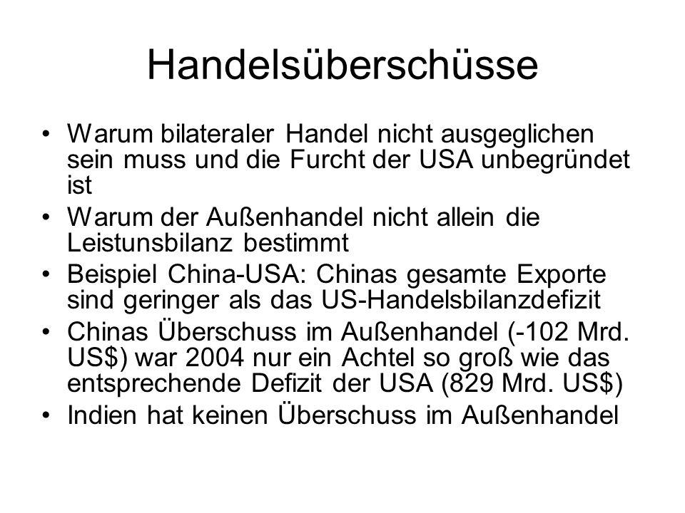 Handelsüberschüsse Warum bilateraler Handel nicht ausgeglichen sein muss und die Furcht der USA unbegründet ist.