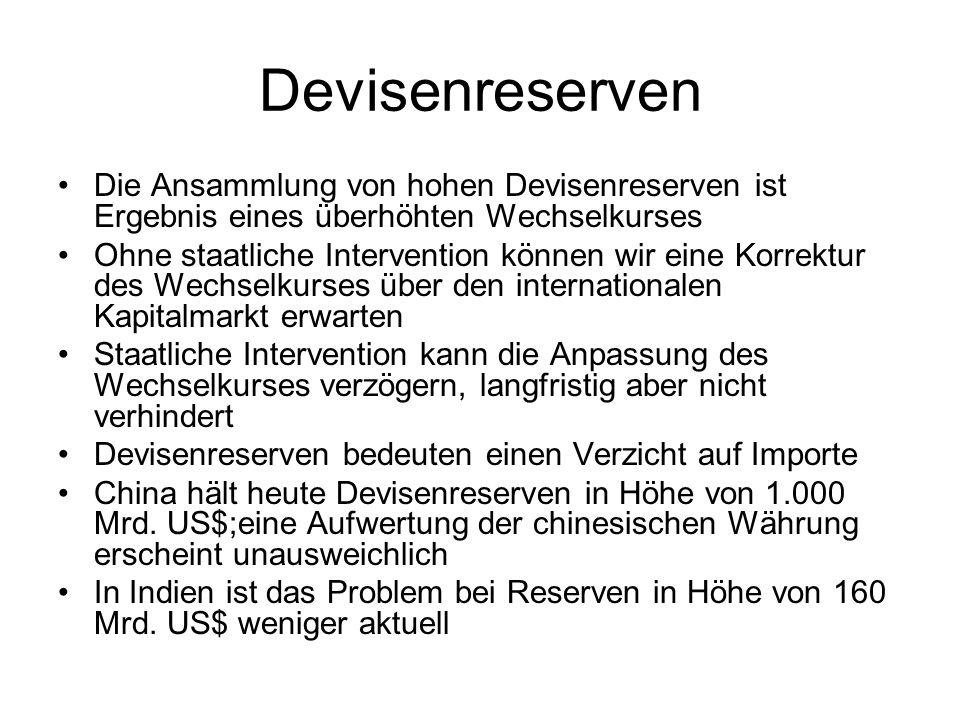 Devisenreserven Die Ansammlung von hohen Devisenreserven ist Ergebnis eines überhöhten Wechselkurses.