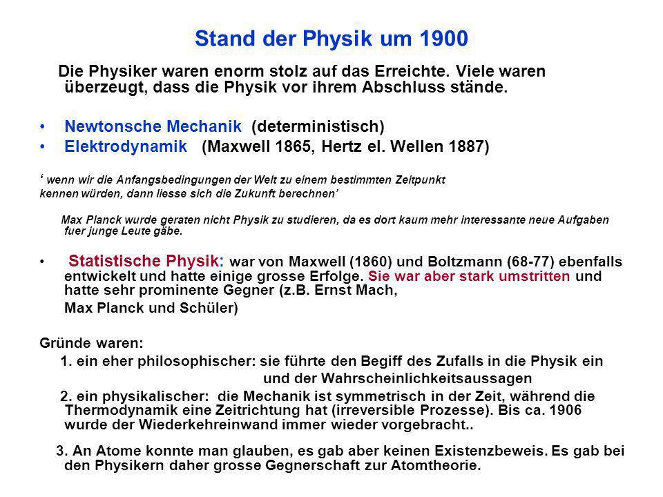 Stand der Physik um 1900 Die Physiker waren enorm stolz auf das Erreichte. Viele waren überzeugt, dass die Physik vor ihrem Abschluss stände.