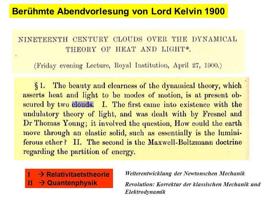Berühmte Abendvorlesung von Lord Kelvin 1900