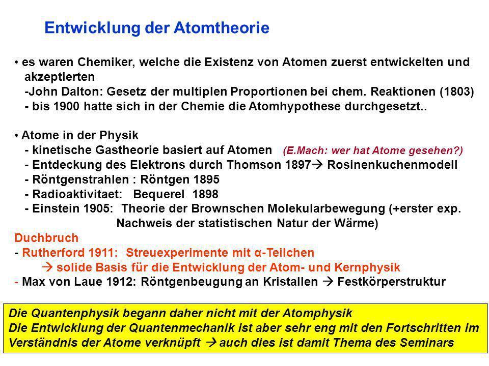 Entwicklung der Atomtheorie