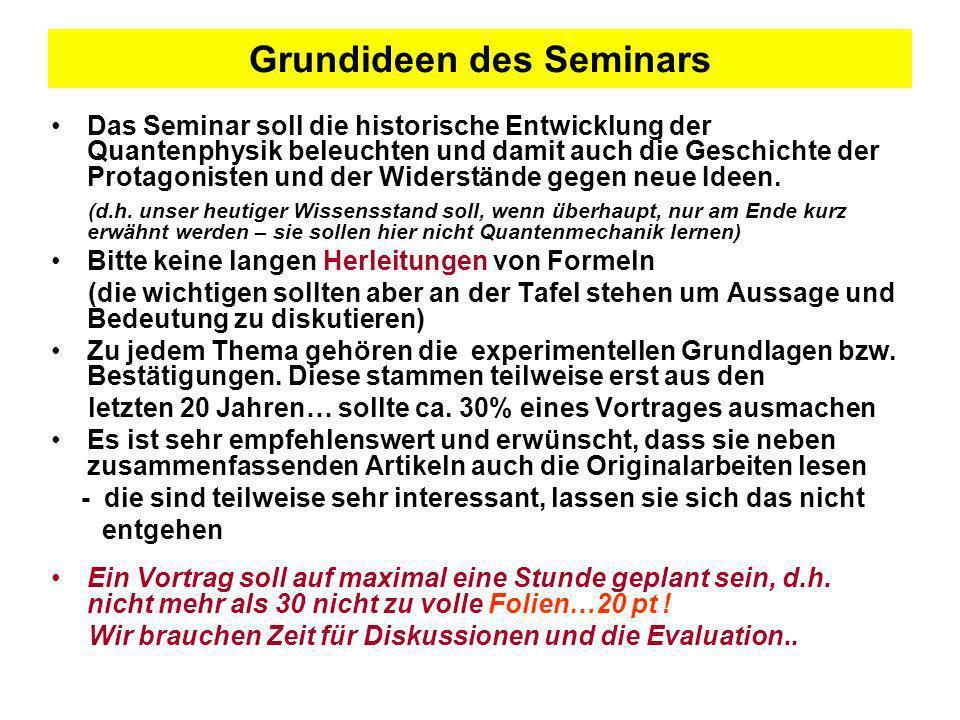 Grundideen des Seminars