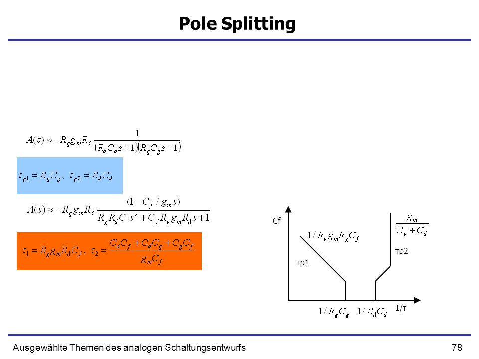 Pole Splitting Ausgewählte Themen des analogen Schaltungsentwurfs Cf