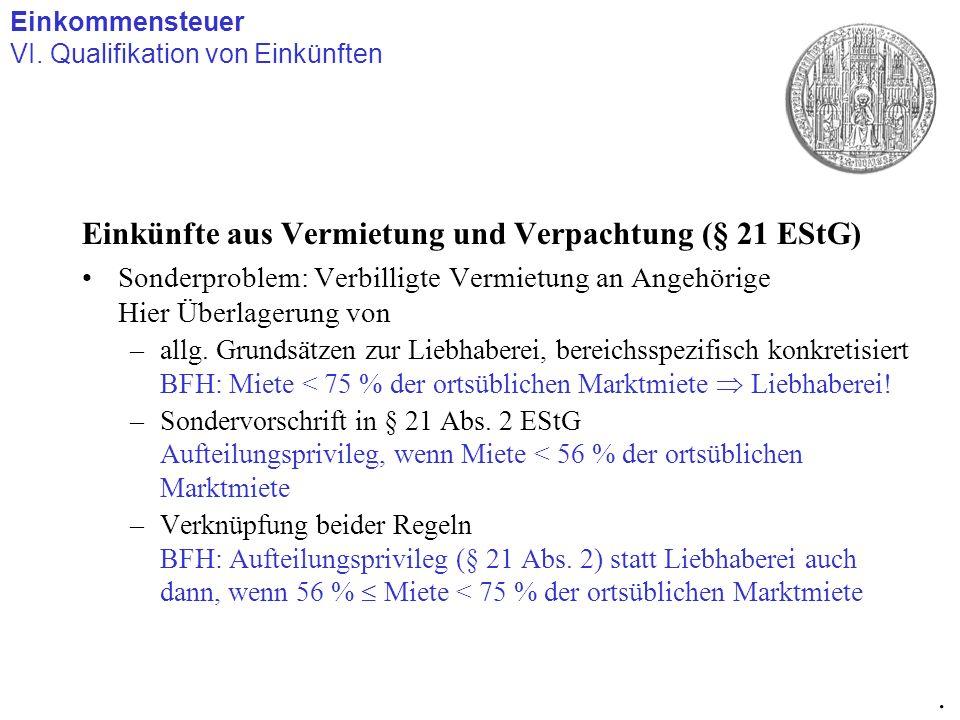 Einkünfte aus Vermietung und Verpachtung (§ 21 EStG)