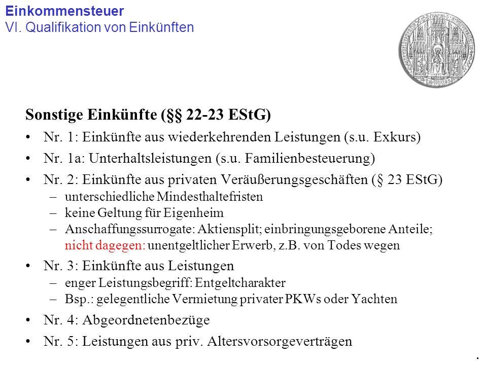 Sonstige Einkünfte (§§ 22-23 EStG)