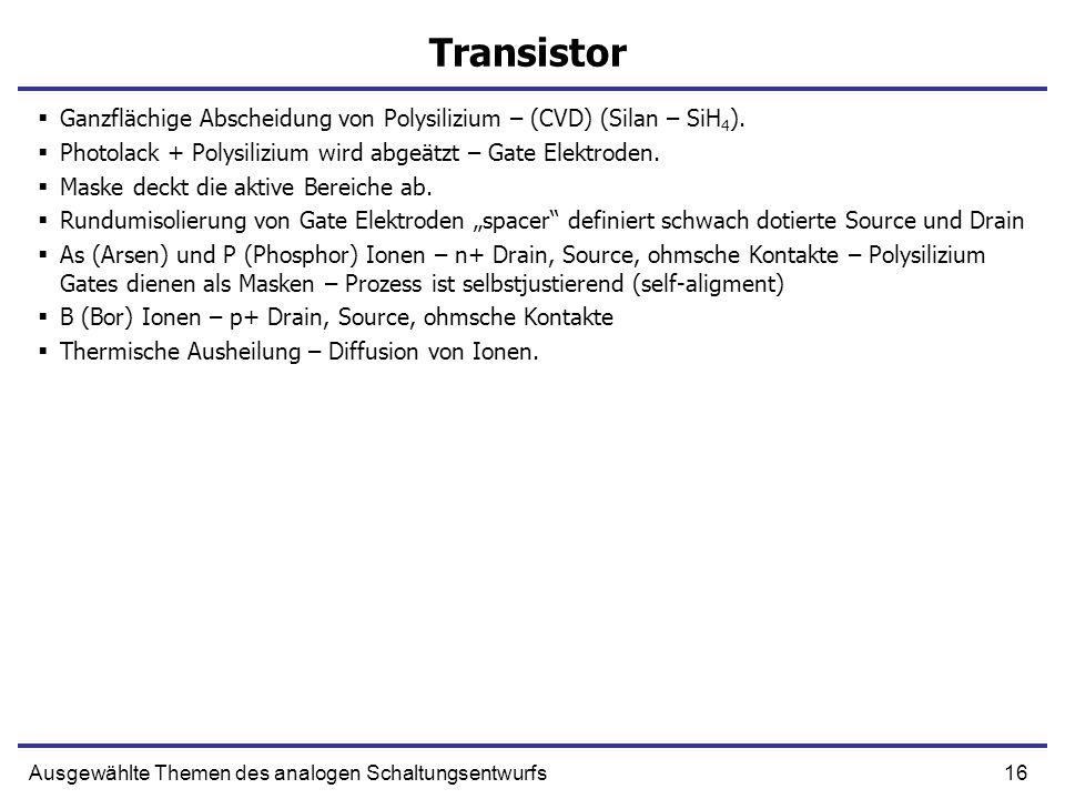 TransistorGanzflächige Abscheidung von Polysilizium – (CVD) (Silan – SiH4). Photolack + Polysilizium wird abgeätzt – Gate Elektroden.