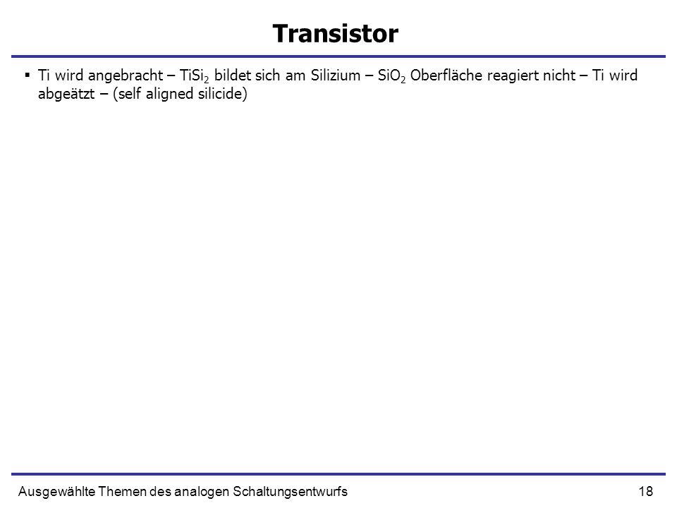 TransistorTi wird angebracht – TiSi2 bildet sich am Silizium – SiO2 Oberfläche reagiert nicht – Ti wird abgeätzt – (self aligned silicide)