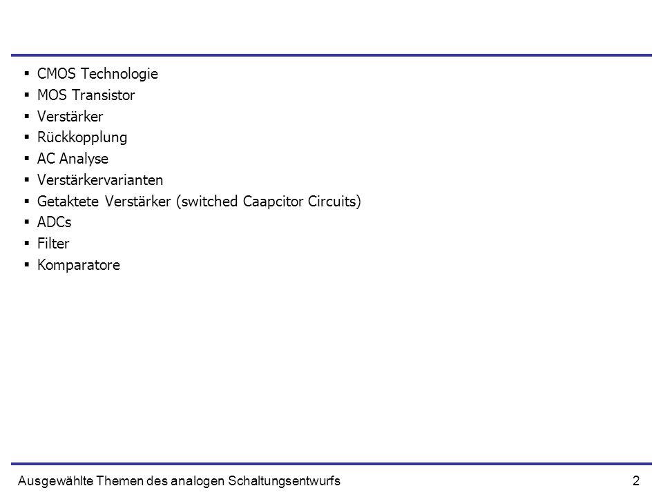 Getaktete Verstärker (switched Caapcitor Circuits) ADCs Filter