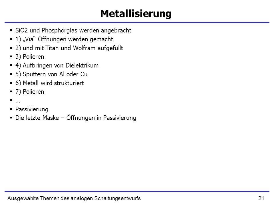 Metallisierung SiO2 und Phosphorglas werden angebracht