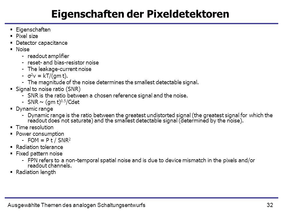 Eigenschaften der Pixeldetektoren