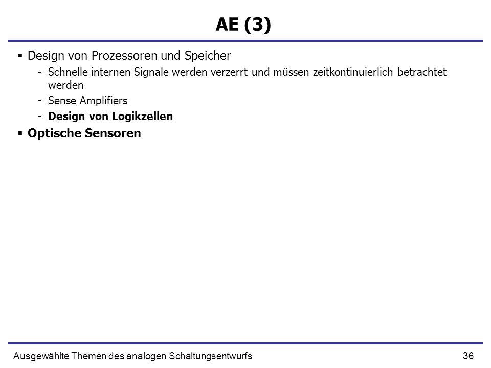 AE (3) Design von Prozessoren und Speicher Optische Sensoren
