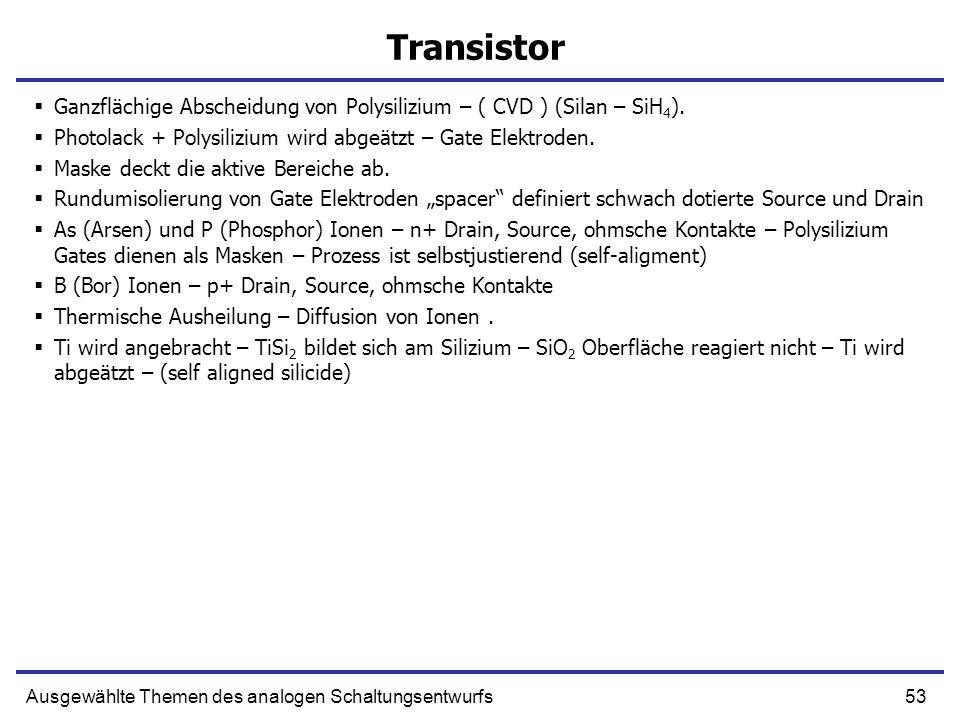 Transistor Ganzflächige Abscheidung von Polysilizium – ( CVD ) (Silan – SiH4). Photolack + Polysilizium wird abgeätzt – Gate Elektroden.