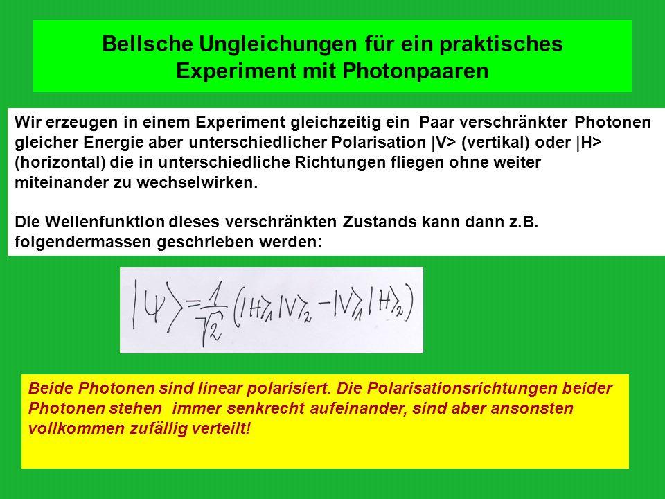 Bellsche Ungleichungen für ein praktisches Experiment mit Photonpaaren