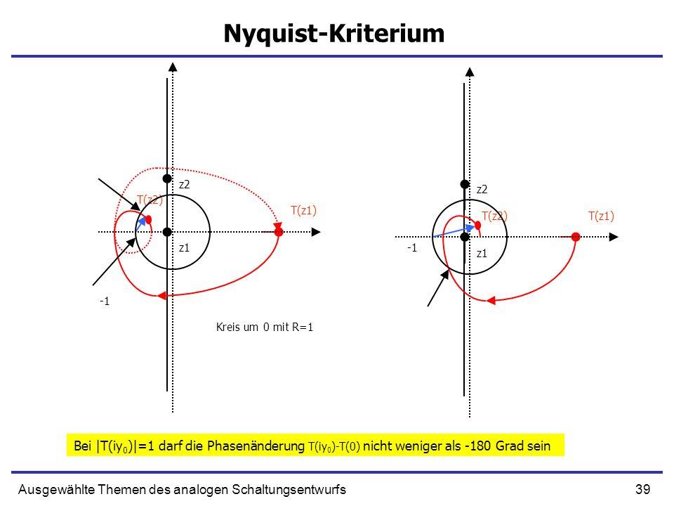 Nyquist-Kriterium z2. z2. T(z2) T(z1) T(z2) T(z1) z1. -1. z1. -1. Kreis um 0 mit R=1.