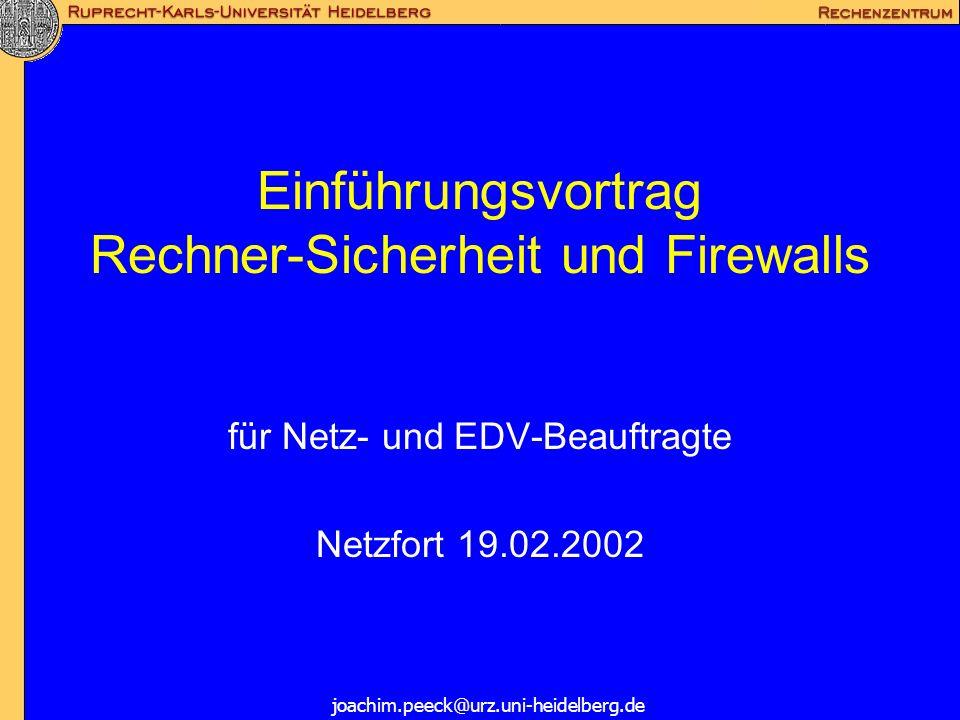 Einführungsvortrag Rechner-Sicherheit und Firewalls