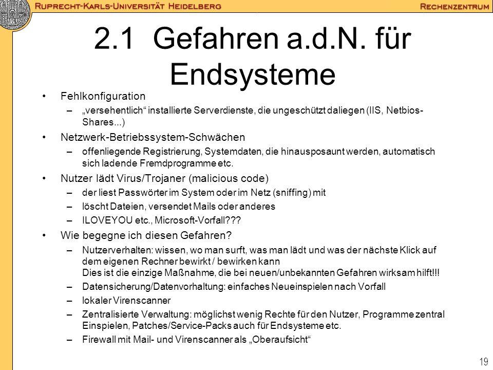 2.1 Gefahren a.d.N. für Endsysteme