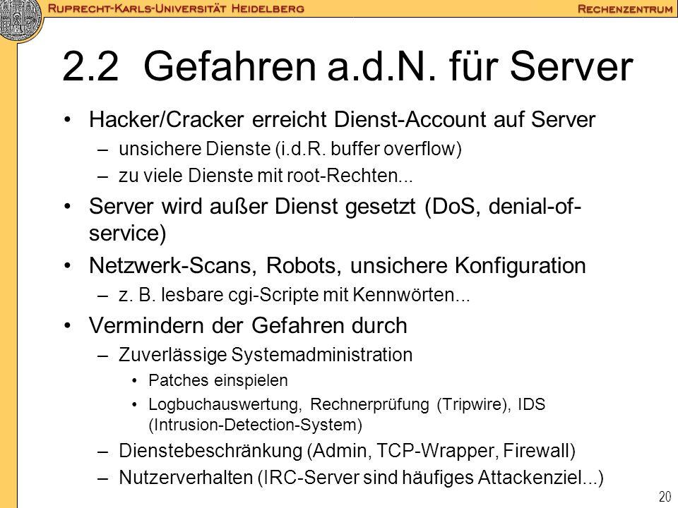 2.2 Gefahren a.d.N. für Server