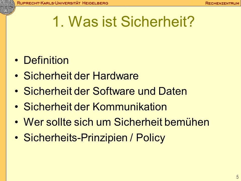 1. Was ist Sicherheit Definition Sicherheit der Hardware