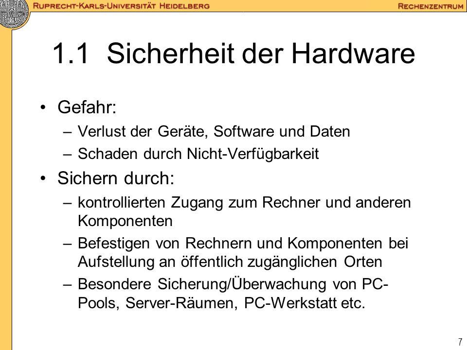 1.1 Sicherheit der Hardware