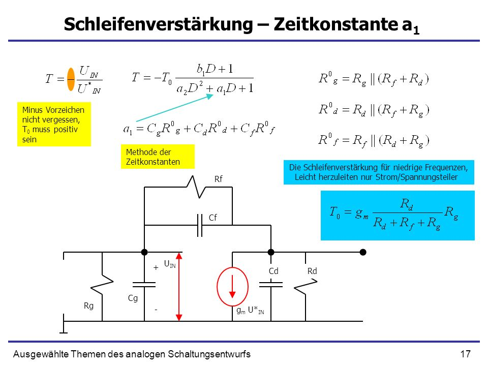 Schleifenverstärkung – Zeitkonstante a1