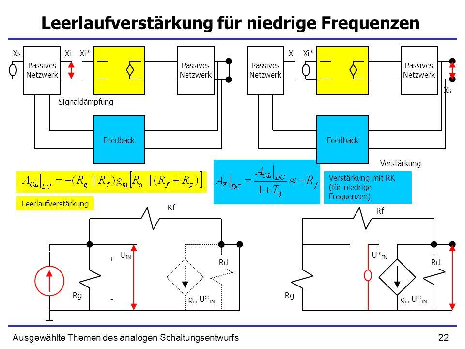 Leerlaufverstärkung für niedrige Frequenzen