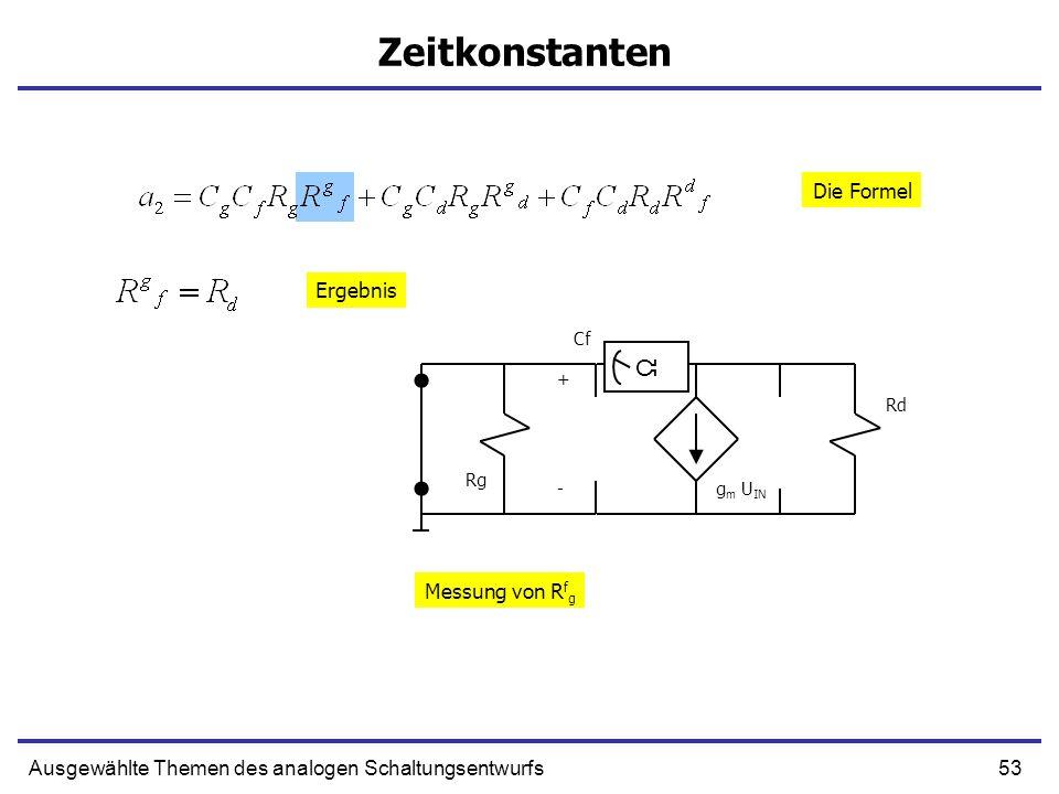 Zeitkonstanten Ω Die Formel Ergebnis Messung von Rfg