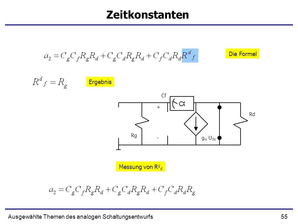 Zeitkonstanten Ω Die Formel Ergebnis Messung von Rgd