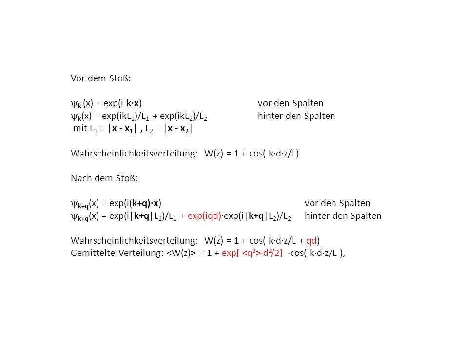 Vor dem Stoß: yk (x) = exp(i k∙x) vor den Spalten. yk(x) = exp(ikL1)/L1 + exp(ikL2)/L2 hinter den Spalten.
