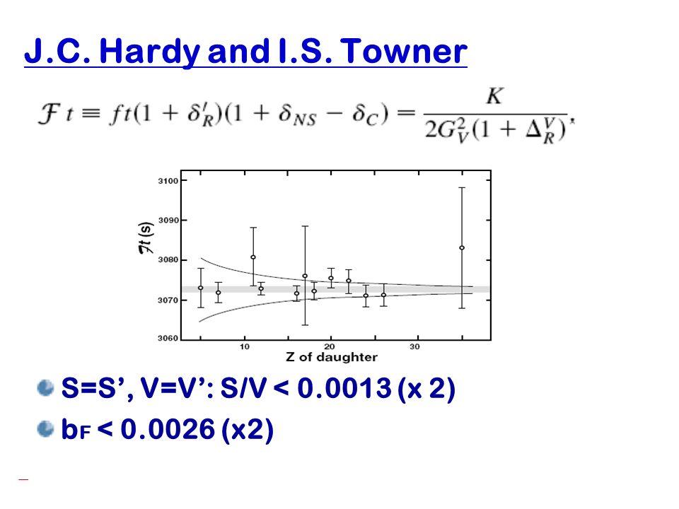 J.C. Hardy and I.S. Towner S=S', V=V': S/V < 0.0013 (x 2)