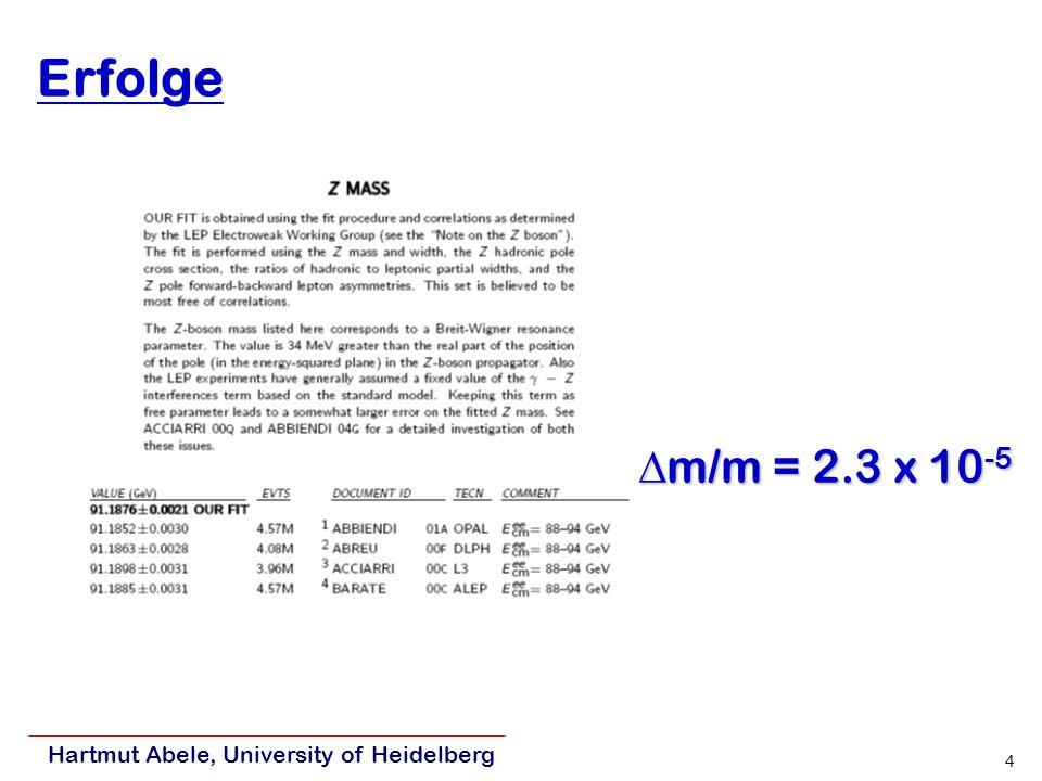 Erfolge m/m = 2.3 x 10-5 Hartmut Abele, University of Heidelberg