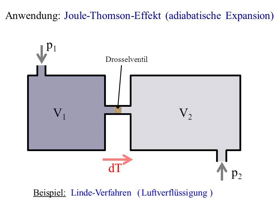 Anwendung: Joule-Thomson-Effekt (adiabatische Expansion)