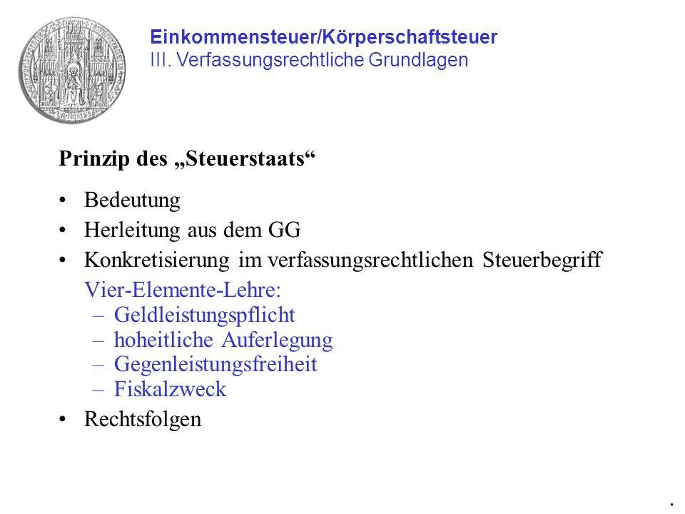 """Prinzip des """"Steuerstaats Bedeutung Herleitung aus dem GG"""