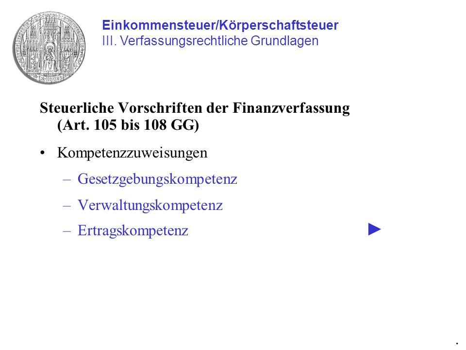 Steuerliche Vorschriften der Finanzverfassung (Art. 105 bis 108 GG)