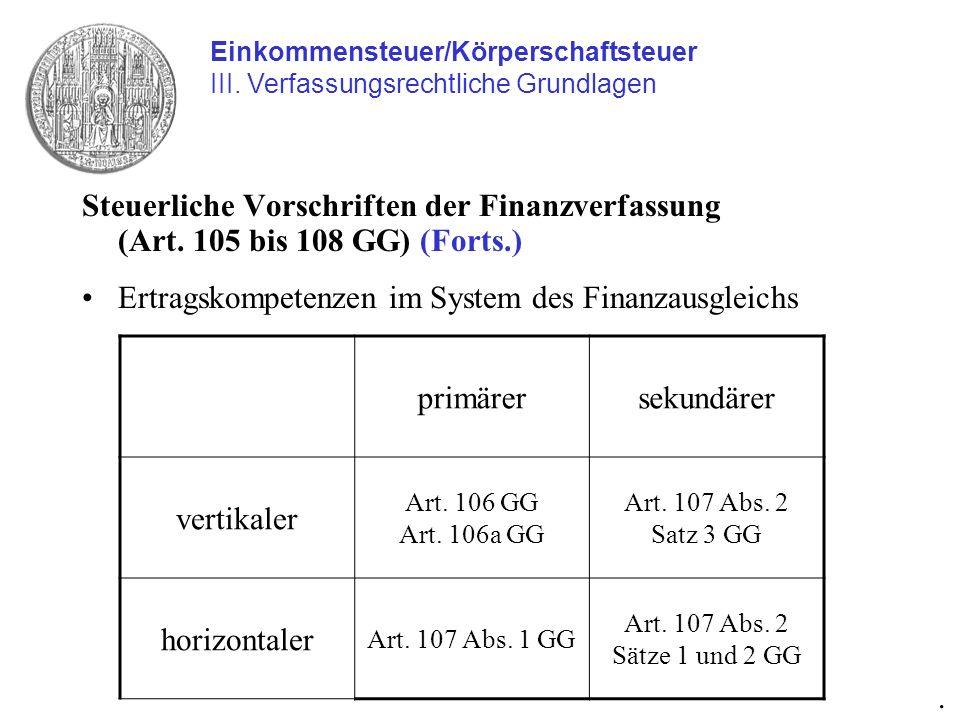Ertragskompetenzen im System des Finanzausgleichs primärer sekundärer