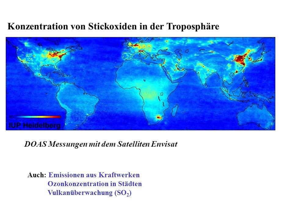 Konzentration von Stickoxiden in der Troposphäre