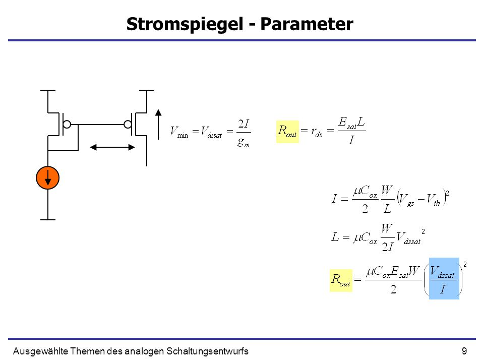 Stromspiegel - Parameter